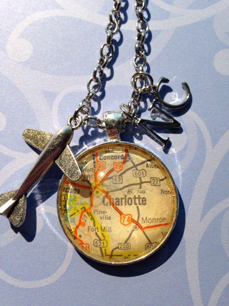 Usa Map North Carolina%0A Charlotte  NC map pendant with charms  u     necklace