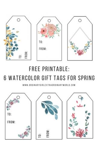 free printable spring watercolor gift tags things i like free rh pinterest com