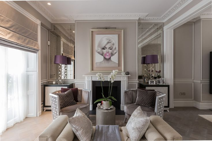 When Marilyn Monroe meets creams/grey/taupe, luscious fabrics and some marble. This stunning 19...