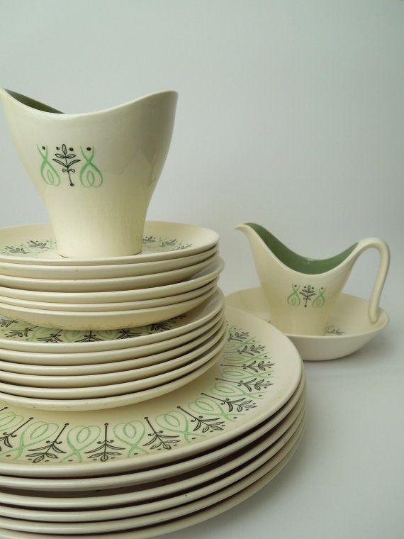21 pcs taylor smith taylor harmony house dey ray mid century modern dinnerware - Modern Dinnerware