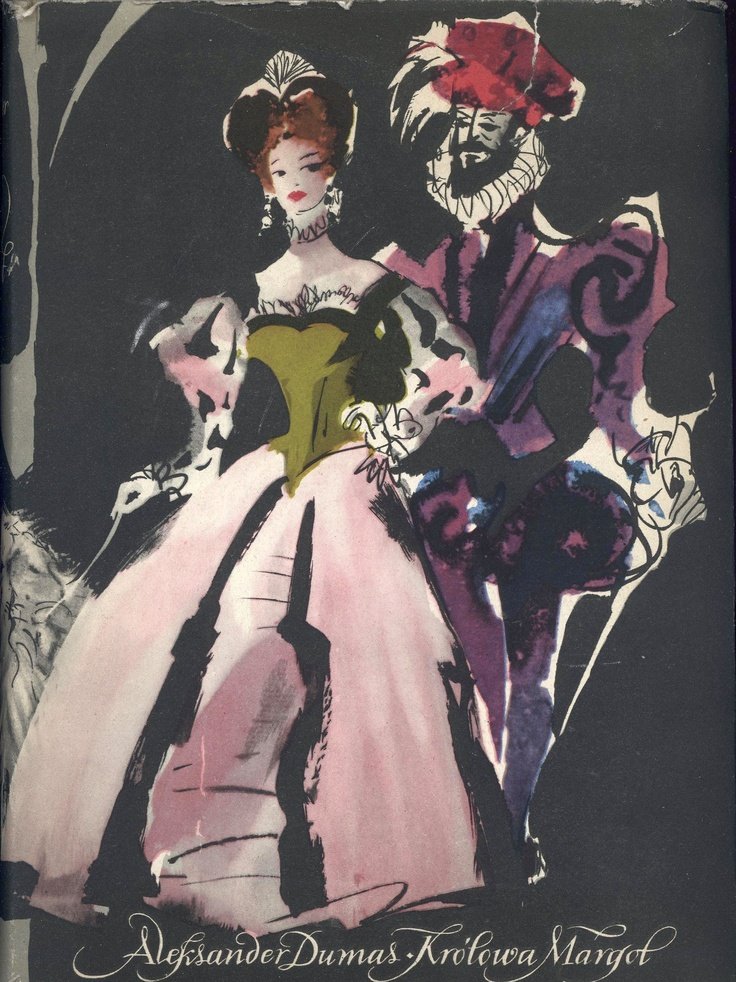 """""""Królowa Margot"""" Alexandre Dumas Cover and illustrated by Janusz Grabiański (Grabianski) Published by Wydawnictwo Iskry 1958"""