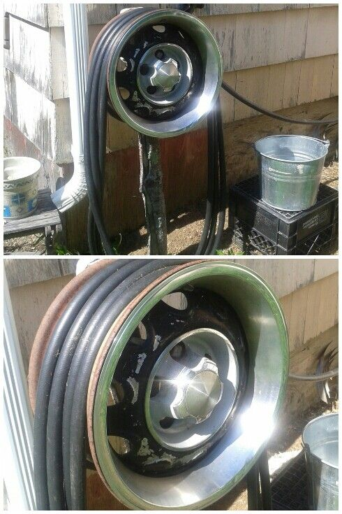 Use An Old Wheel To Store Your Garden Hose, Instead Of A Crappy Plastic Hose