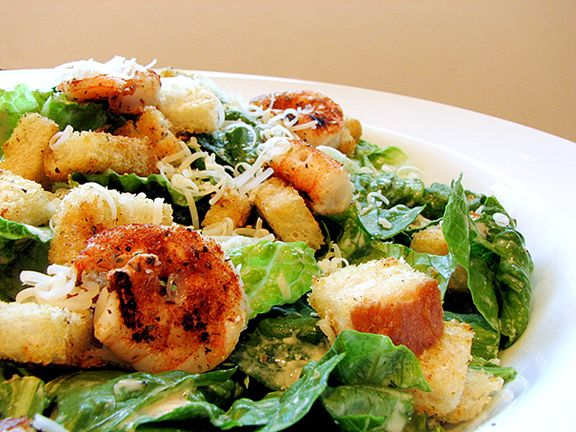 Creamy Caesar Salad with Spicy Croutons and Shrimp   www.tasteandtellblog.com
