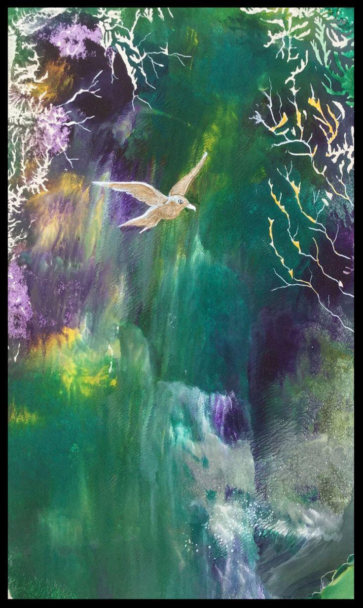 Flight over the Falls  - Dendritic art in acrylic