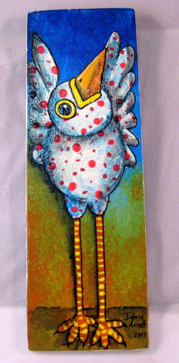 White Whimsical bird by PhantomWhispers on Etsy, $45.00