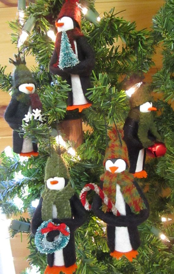 Penguin Christmas Ornament Clothespin Ornament by ModerationCorner
