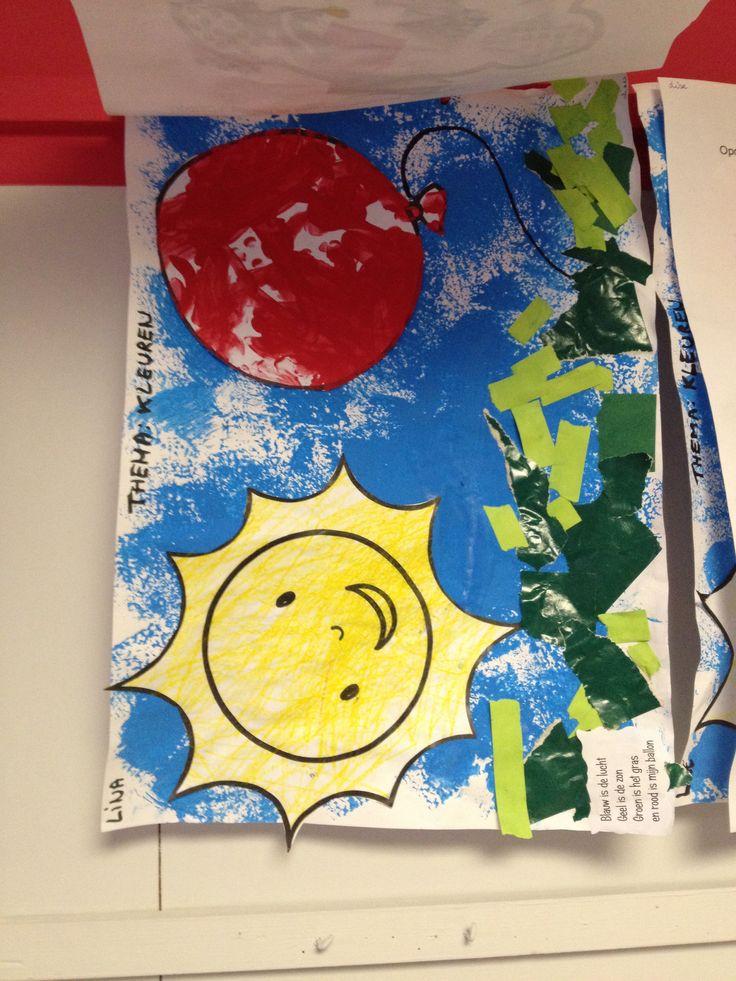 Zie versje. Rood: vingerschilderen Geel: kleuren met wasco Blauw: stempelen met spons Groen: scheuren en opkleven