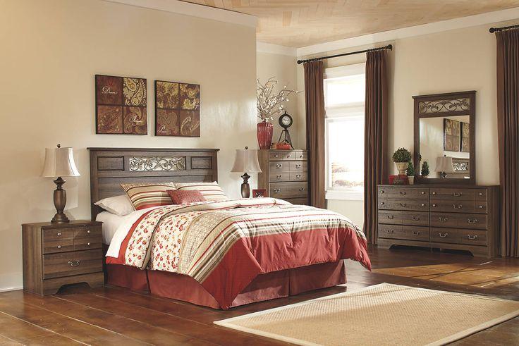 vintage casual brown wood furniture set with headboard