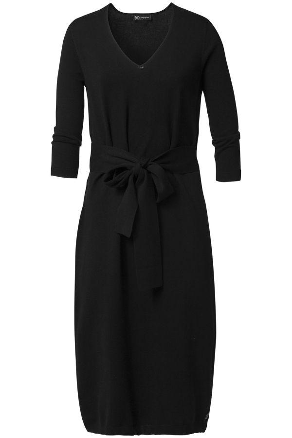 Zacht gebreide jurk met strikceintuur Zwart