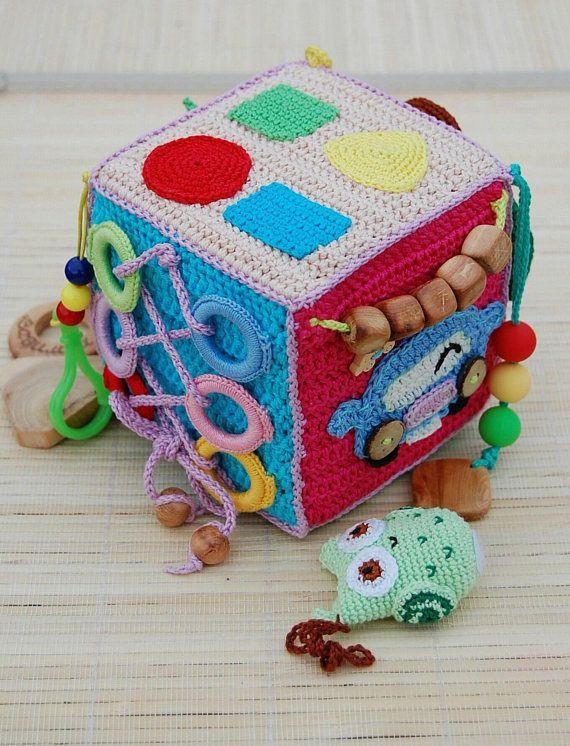 Crochet educational toy Baby activity cube Soft avtivity cube Developing cube Soft educational toy Fine motor skills сube Montessori toy