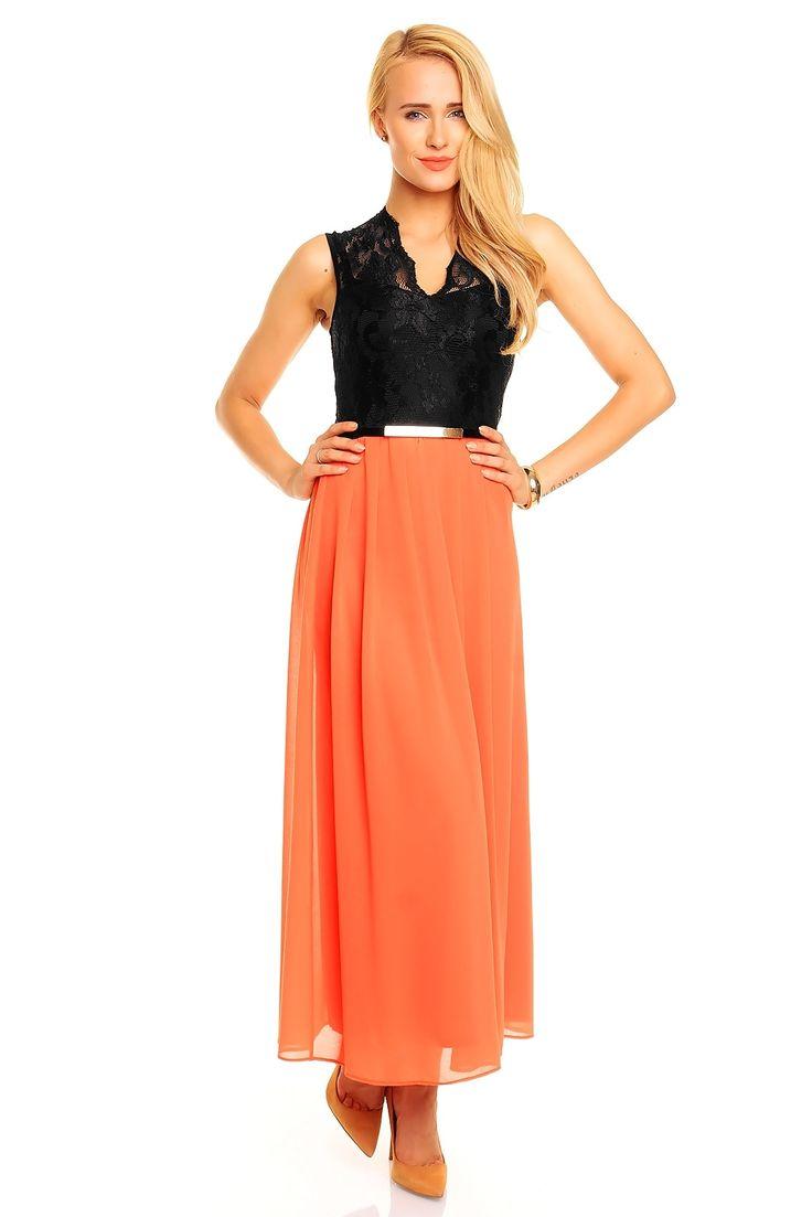 Robe de soirée longue chic et tendance pas cher tendance Orange noire fashion TM-300L - ToufaMode