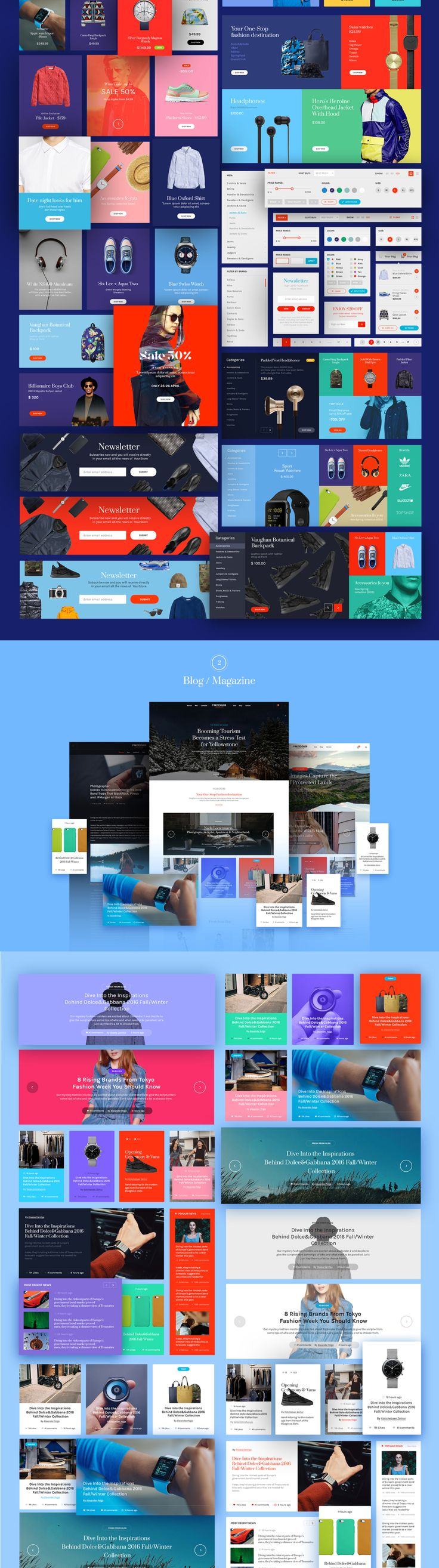 Stylish and bright web based UI Kit, consisting of more than 100 ready to use elements. This UI Kit is useful and diverse, helping you to save time by facilitating great designs and easy prototyping.