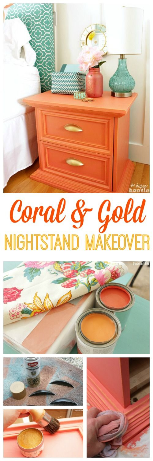 Tone-on-tone Coral and Gold distressed nightstand with gold hardware and gold wax at The Happy Housie