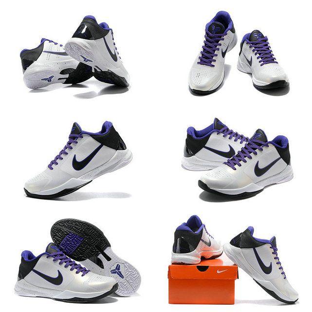 3edf729ad55b 2018 Original Nike Zoom Kobe V 5 Inline White Black Varsity Purple 386430  101