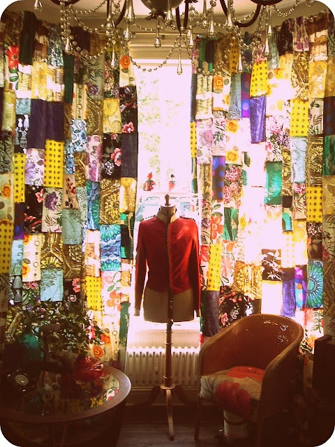 patchwork curtains ... but with my scarves ...