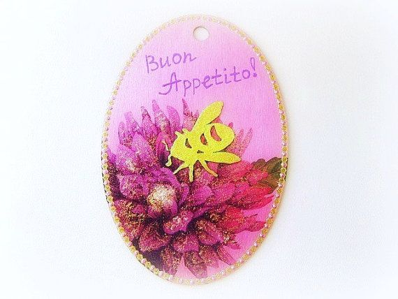 Wooden wall plaque bee and flowers rustic kitchen by GattyGatty