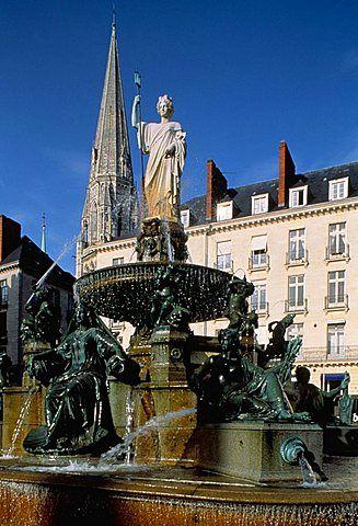 Loire fountain, Place Royale, Nantes, Loire Atlantique, France, Europe
