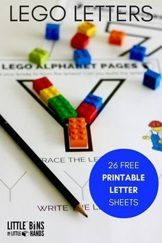 LEGO Letter activity printable pages for kids. Build, trace, and write letters to practice the alphabet with LEGO. Greta for preschool and kindergarten age kids.