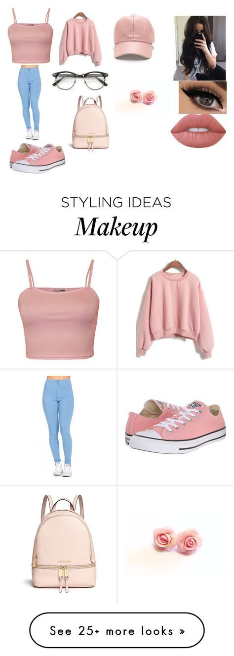 """""""pink"""" by lilianaduarte1234 on Polyvore featuring WearAll, Converse, ZeroUV, Lime Crime and Michael Kors"""