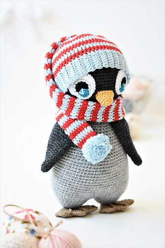 Pompom hat penguin has expressive crocheted eyes, cute body shape and lifelike flippers. This 2 in 1 pattern includes full instructions for making the penguin as well as the crochet hat, which can be used as a photo prop hat for newborn. The toy doesnt include any stiff parts, so its a perfect gift for babies.