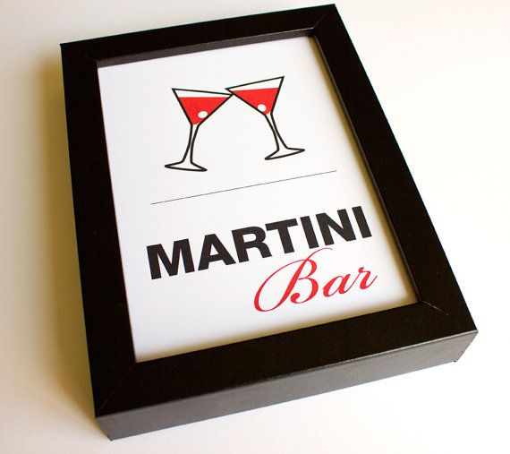 Martini Bar Wedding Shower Bridal Sign Home Decor Party ...