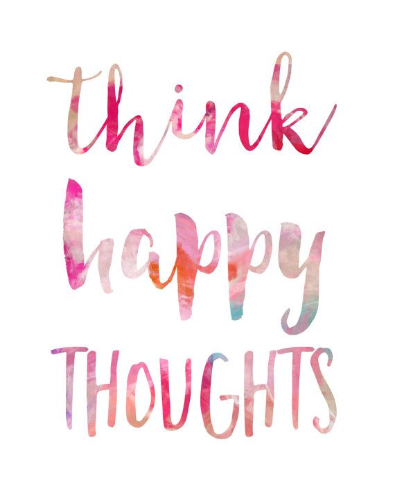 Think Happy Thoughts Print / Cheerful Wall Art / Dorm Art / College Student Gift / Available Framed Think happy thoughts. Perfect for anyone who