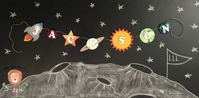 Personalized Outer Space Name Banner, Outer Space Birthday Party, Outer Space Party, Outer Space Baby Shower, Outer Space Room Nursery Decor