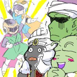 Mr. Popo, Dende, Piccolo, Great Saiyaman (Gohan) and Great Saiyaman 2 (Videl).