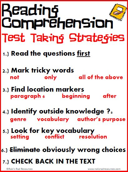 Free Reading Comprehension Test Taking Strategies Posters                                                                                                                                                                                 More