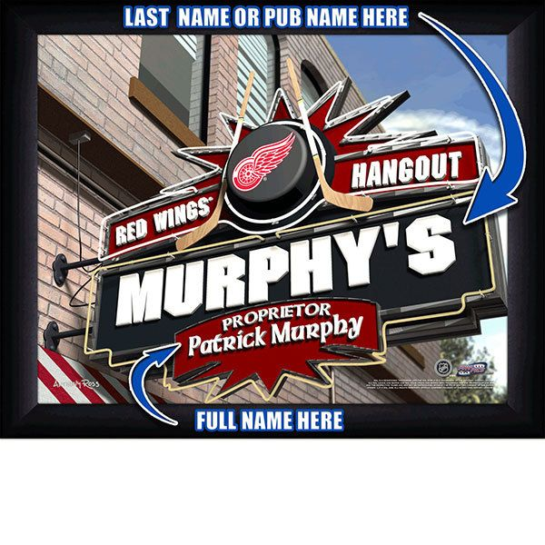 Detroit Red Wings NHL Hockey - Personalized Detroit Red Wings Pub Hangout Print / Picture. Now, with our Personalized NHL Sports Pub Hangout Print, your favorite fan can become the Proprietor of THEIR OWN Sports Bar! This exciting gift is perfect for any NHL hockey fan. Optional framing with mat is available. Perfect for gifts, rec room, man cave, bar, office, etc.  (http://www.oakhousesportsprints.com/detroit-red-wings-pub-hangout-print/)