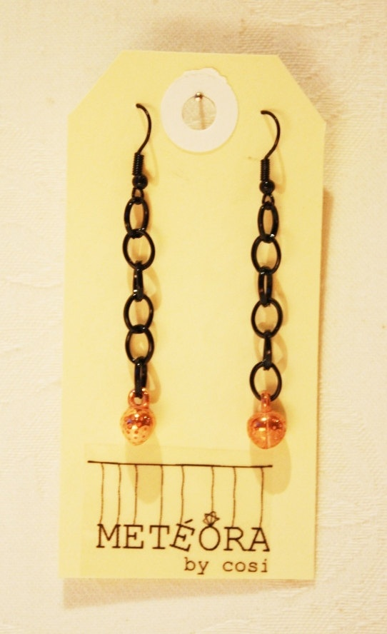 Copper Strawberry on Black Chain by meteorabycosi on Etsy, $8.00