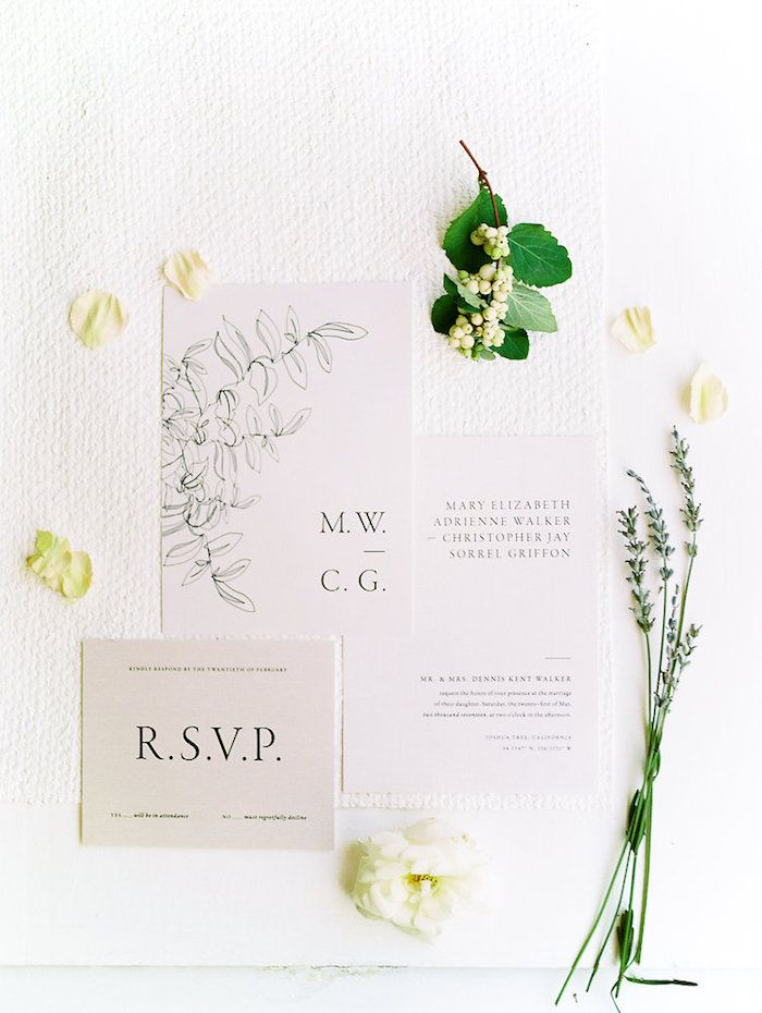 minimal and modern white wedding paper suite