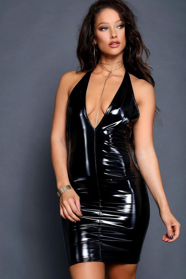 Go all-out in this ultra sexy juniors mini dress that leaves a lasting impression. Features a glossy, latex-like fabric that makes you shine like the diva you are. Crafted with a plunging neckline, halter styling, and curve-hugging fabric that molds to your silhouette. Sleeveless.