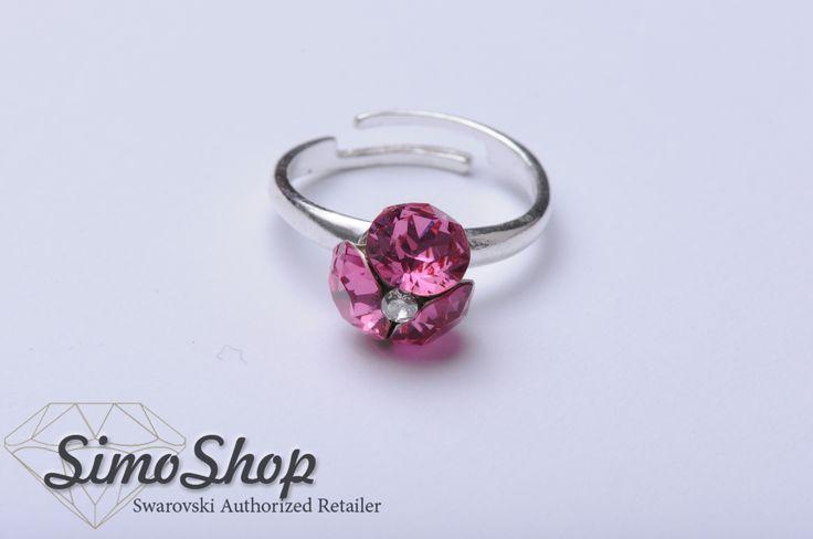 Inel cu cristale Swarovski și tijă reglabilă din argint 925. #simoshop #argint #swarovski #inel
