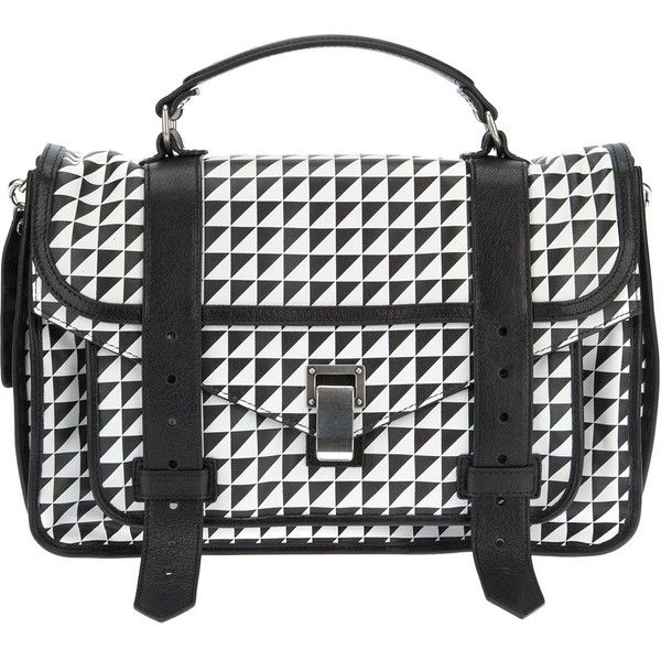 PROENZA SCHOULER 'PS1' medium satchel (51.925 UYU) ❤ liked on Polyvore featuring bags, handbags, leather bags, real leather purses, studded purse, proenza schouler purse and leather handbags