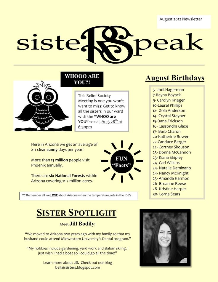 Completely new 41 best Newsletter Templates images on Pinterest | Relief society  BL49