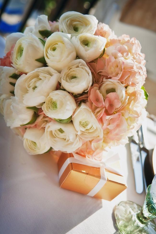Bridesmaids bouquet white ranunculus pink hydrangea