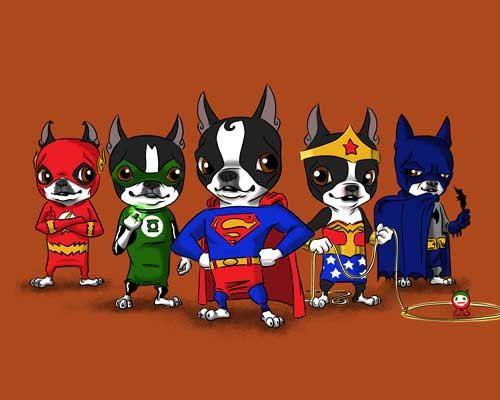 Boston Terrier Justice League dog art print