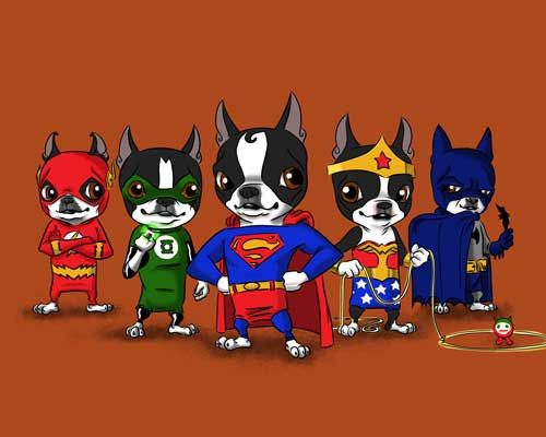 Boston terrier Justice league dog art print by rubenacker on Etsy, $18.00 Brian Rubenacker