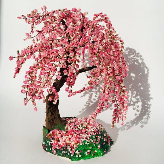 Gardening Gift Sakura Bonsai Tree Cherry Blossom Wire Wrapped Image 8 Cherry Blossom Bonsai Tree Wire Tree Sculpture Tree Sculpture