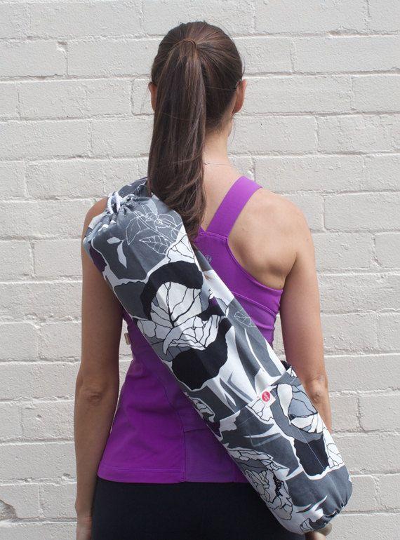Stylish Canvas Yoga Mat Bag. Cross body design. Plum/Grey Floral pattern by Rambutandesigns follow @ http://www.facebook.com/rambutandesigns
