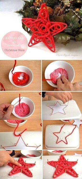 .Yarn, glue, pattern, wax paper
