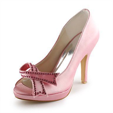 Satin Stiletto Heel Peep Toe / Pumps With Rhinestone Hand-made Party Evening Shoes (More Colors Available) – US$ 79.99