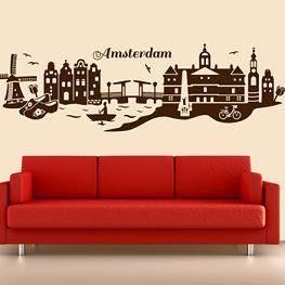Muursticker Skyline Amsterdam - Steden en skyline | Muurmode.nl