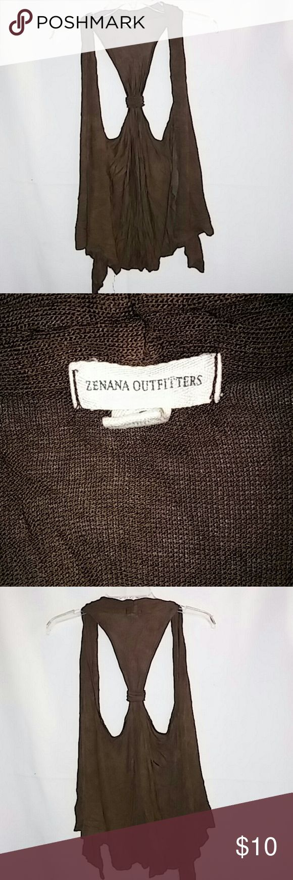 Casual sleeveless Zenana Outfitters cardigan Comfortable brown sleeveless cardigan in great condition Zenana Outfitters Sweaters Cardigans