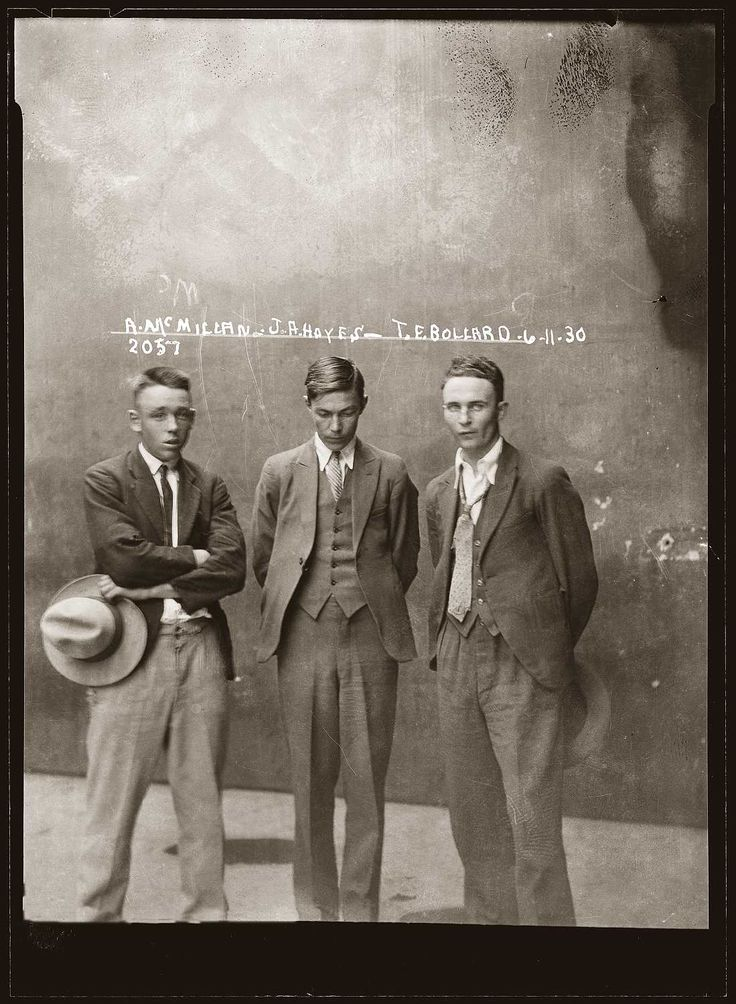 EDDIE MCMILLAN, JOHN FREDERICK 'CHOW' HAYES, & THOMAS ESMOND BOLLARD - Nov. 6, 1930, Central Police Station, Sydney, Australia