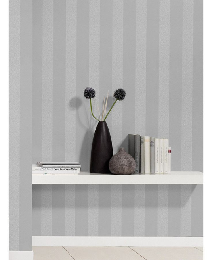 This Sparkling Glitter Stripe Wallpaper features a wide stripe pattern with alternating silver glitter and lightly textured matte grey stripes. Free UK delivery available