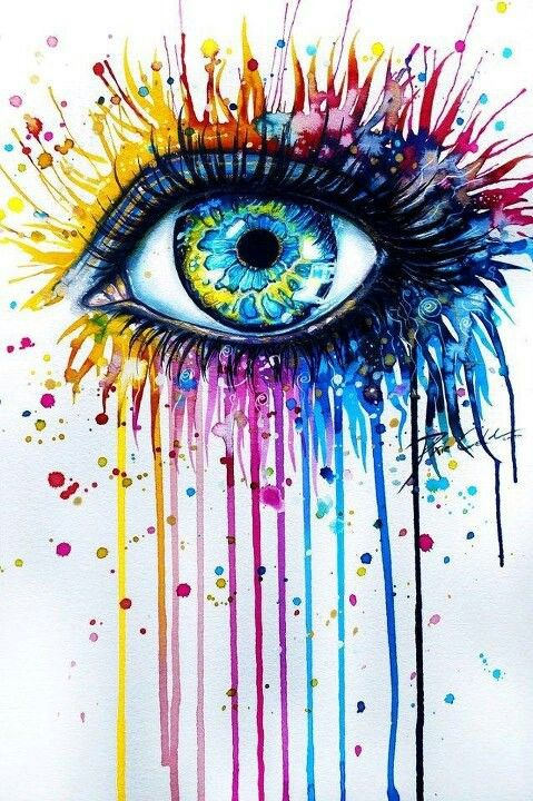 Cette œuvre représente un œil très coloré. Selon moi, la technique utilisé est la peinture. Autour de l'œil il y a des petits points libre dans l'espace, mais plus on se rapprocher de l'œil moins il y a d'espace libre.  En regardant cette œuvre j'ai ressenti de la joie car je trouve que c'est une œuvre très joyeuse avec tout ses couleurs.