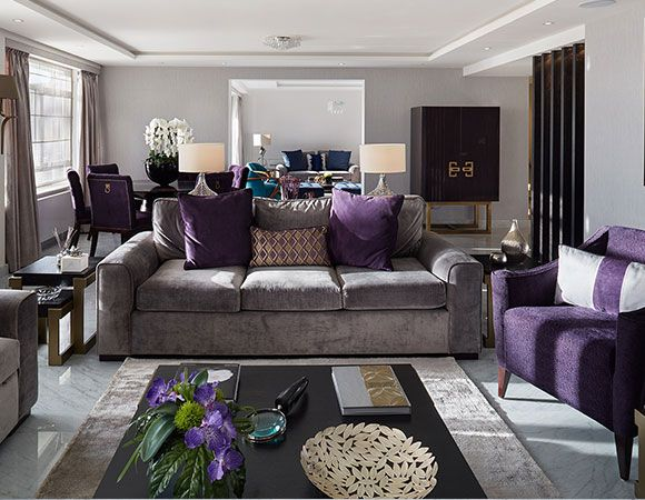 House Tours: Be Inspired By The New Season Colours And Appealing Textures  In This Stunning London Apartment. Purple Living RoomsGrey Living Room ...