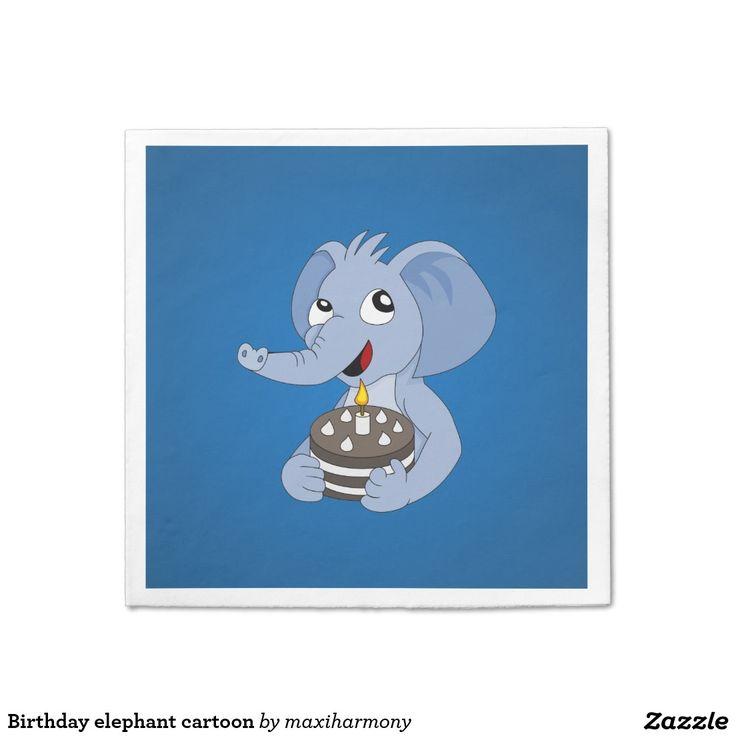 Birthday elephant cartoon standard cocktail napkin